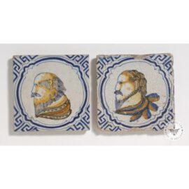 2 Antique Tiles With Men #PC1
