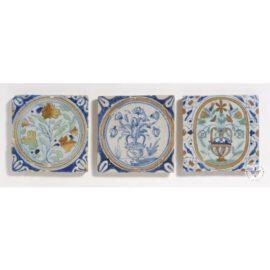 Three 17th Century Polychrome Flower Tiles #B2