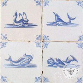 Antique Dutch Fish Tiles #S1