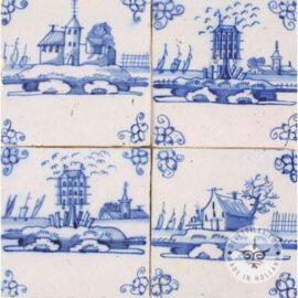 Four 18th Century Landscape Tiles #L1