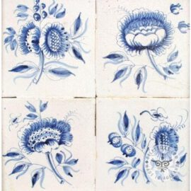 Three Delft Blue 18th Century Flower Tiles #B3