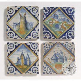 Four 17th Century Landscape In Diamond Tiles #L2