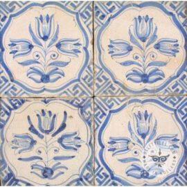 Four Antique Delft Blue Tulip Tiles #B4