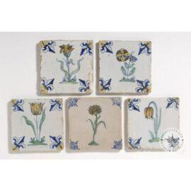 Five Antique Delft  Tulip Tiles #B5