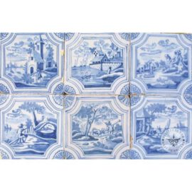 Six Delft Blue Landscape Tiles #L3