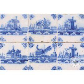 Six Delft Blue Landscape Tiles #L4