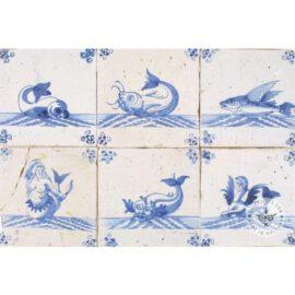 Flying Fish Antique Blue White Tiles #S4