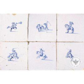 Antique Horsemen Blue And White Tiles #D3