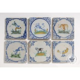 Antique Polychrome 17th Century Tiles  #D8