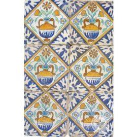6 Early 17th Century Flower Pot Tiles #B6