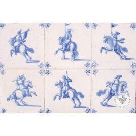 Antique Horsemen Blue And White Tiles #D4