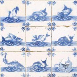 Nine Antique Blue White Fish Tiles #S5