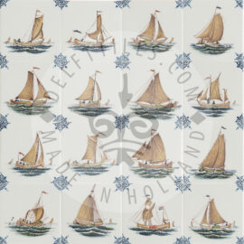 Decorated Sailing Boat Tiles Color (TMS4)