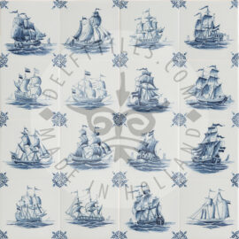 Delft Blue Three Masted Ship Tiles (TMS1)