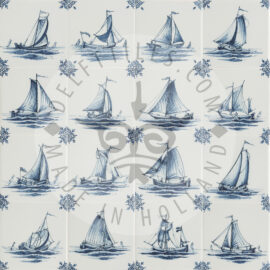 Hand Decorated Boat Ship Tiles (TMS3)