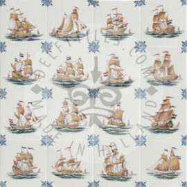 Polychrome Three Masted Ship Tiles (TMS2)