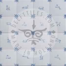 Animals Decorated Delft Blue Tiles (TMF11)