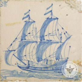 17th Century Old Blue & White Ship Tile #S12