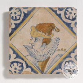 Poly Chrome Dutch Delft Portrait Tile #PC9