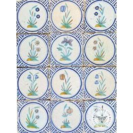 17th Century Antique Flowers In Circle Tiles #B16