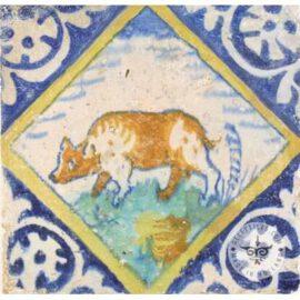 Dutch Delft Multi Color Animal Tile #PC10