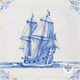 17th Century Old Blue & White Boat Tile #S13