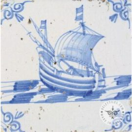17th Century Old Blue & White Boat Tile #S14