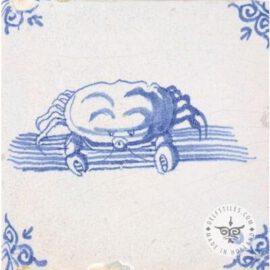 Crab Sealife Blue & White Tile #S15