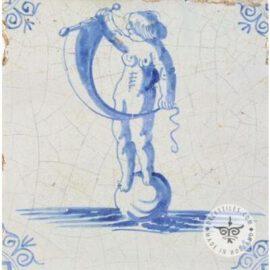 Man On Ball Blue & White Tile #S17
