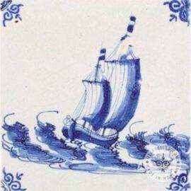 Ship On Sea Old Blue & White Tile #S18