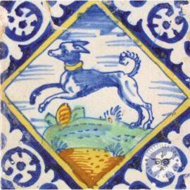 Multi Color Antique Dog Tile #PC18