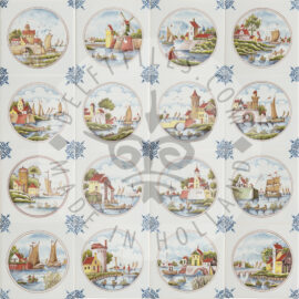 Detailed Dutch Multi Colored Landscapes In Circle Tiles (TML6)