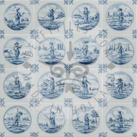Detailed Delft Blue Shepherd In Circle Tiles (TMF7)