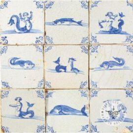 Mythology & Fish Old Blue & White Tiles #S22