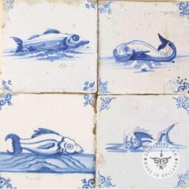 Old Blue & White Fish Tiles #S23