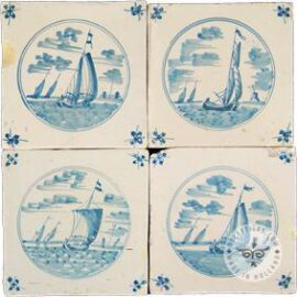 18th Century Landscape Tile With Boats #L11