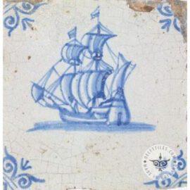 Old Blue & White Boat Tile #S24