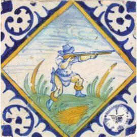 Hunter With Gun Antique Tile #PC23