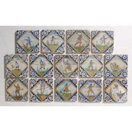 Colored Hand Painted Square Tiles  #PC24