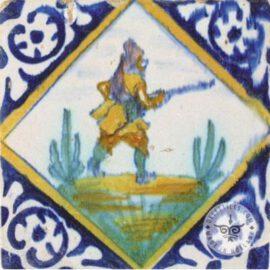 Multi Color Antique Hunter Tile  #PC25