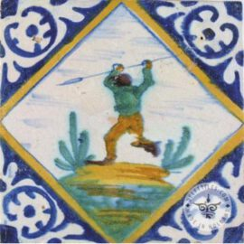 Man With Spear 17th Century Tile  #PC28