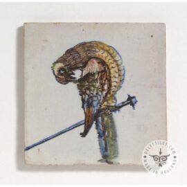 Antique Old Animal Tiles Polychrome Bird  #D2