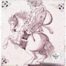 Antique Horse Rider Tile Sepia  #D5
