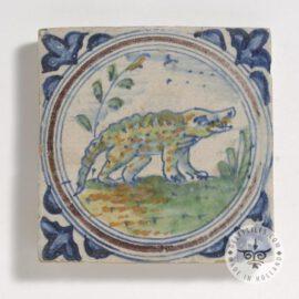 Antique Dutch Crocodile Tile 17th Century  #D25
