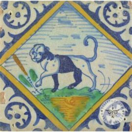 Panther Lion 17th Century Old Tile  #PC30