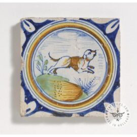 Dog In Medallion 17th Century Delft Tile  #D26