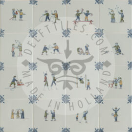 Polychrome Two Children Decorated Tiles (TMF4)