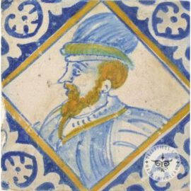 Man With Beard 17th Century Old Tile  #PC31