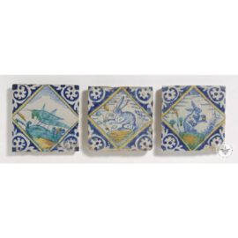 Cricket & Hares 17th Century Old Tile  #PC34