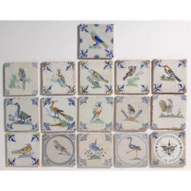 17th Century Poly Chrome Bird Tiles  #PC37